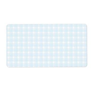ギンガムの点検パターン。 淡いブルーおよび白い ラベル
