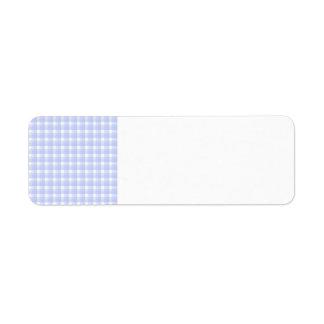 ギンガムの点検パターン。 淡いブルー及び白い ラベル