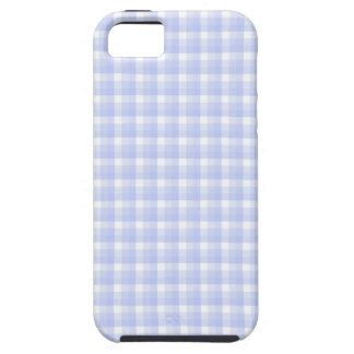 ギンガムの点検パターン。 淡いブルー及び白い iPhone SE/5/5s ケース