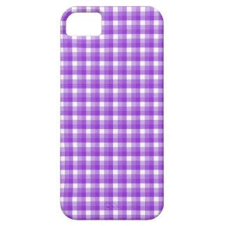 ギンガムの点検パターン。 紫色および白 iPhone SE/5/5s ケース