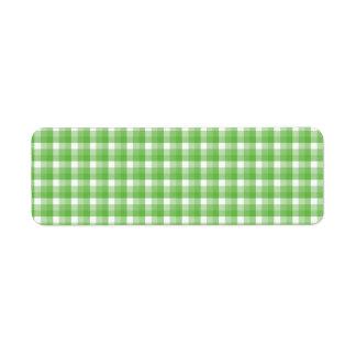 ギンガムの点検パターン。 緑および白 ラベル