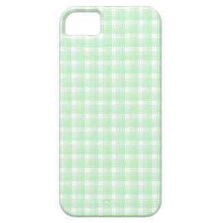 ギンガムの点検パターン。 薄緑および白い iPhone SE/5/5s ケース