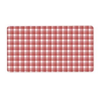 ギンガムの点検パターン。 赤および白 ラベル