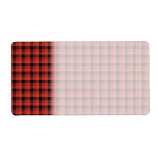 ギンガムの点検パターン。 赤くおよび黒い格子縞 ラベル