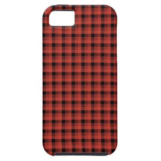 ギンガムの点検パターン。 赤くおよび黒い格子縞 iPhone 5 COVER