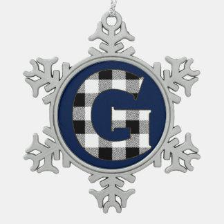 ギンガムの点検G スノーフレークピューターオーナメント