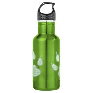 ギンガム犬の足-緑 ウォーターボトル