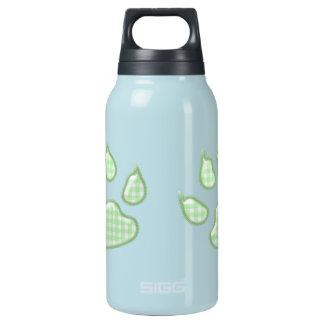 ギンガム犬の足-緑 断熱ウォーターボトル