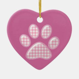 ギンガム猫の足-ピンク セラミックオーナメント