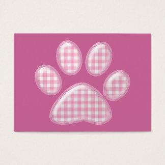 ギンガム猫の足-ピンク 名刺
