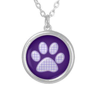 ギンガム猫の足-紫色 シルバープレートネックレス