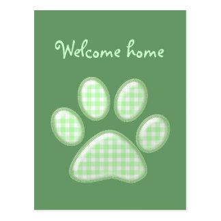 ギンガム猫の足-緑 ポストカード