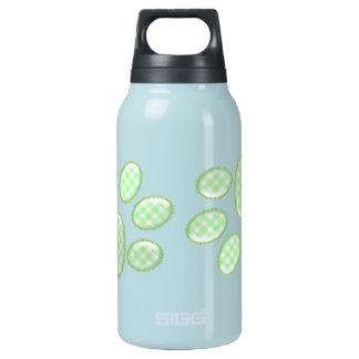 ギンガム猫の足-緑 断熱ウォーターボトル