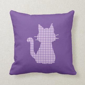 ギンガム紫色猫のシルエット クッション