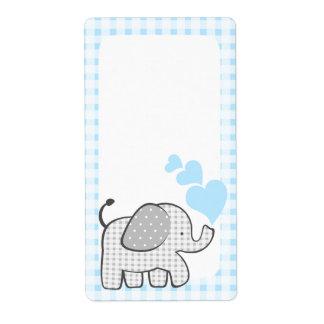 ギンガム象の本は青いハートに付けます ラベル