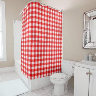 ギンガム赤と白パターンシャワー・カーテン シャワーカーテン