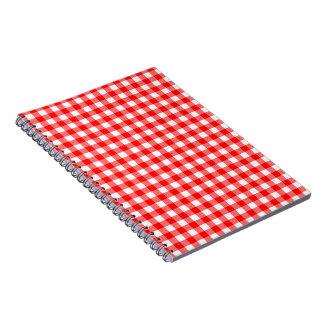 ギンガム赤と白パターンノート ノートブック