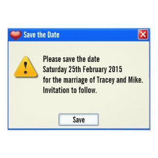 ギークのエラーメッセージの保存日付の招待状 12.7 X 17.8 インビテーションカード