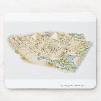 ギーザのピラミッドのイラストレーション マウスパッド