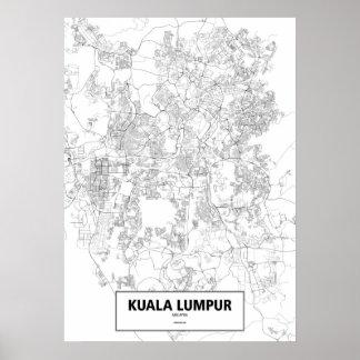 クアラルンプール、マレーシア(白いの黒、カスタム) ポスター