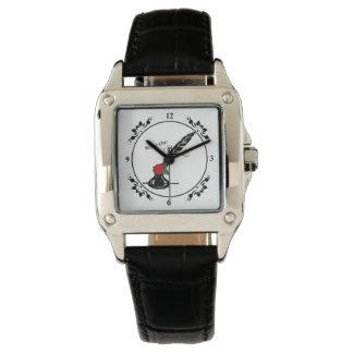 クイルおよびインク作家のためのばら色の正方形の顔の腕時計 腕時計
