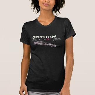 クイル及びQuimsの女性のスコップの首-黒Logo1 Tシャツ
