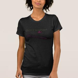 クイル及びQuimsの女性のスコップの首-黒Logo6 Tシャツ