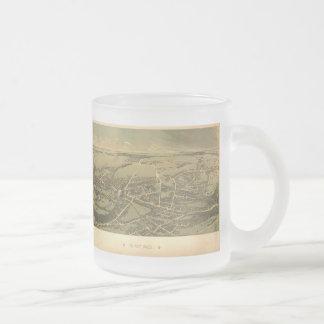 クインシー(1877年)のヴィンテージの絵解き地図 フロストグラスマグカップ