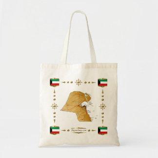 クウェートの地図 + 旗のバッグ トートバッグ