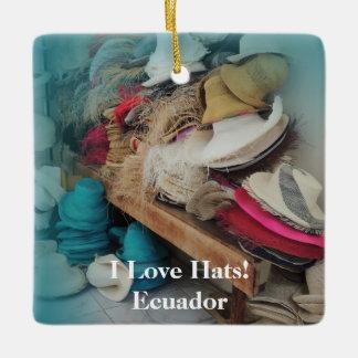 クエンカエクアドルの帽子の工場カスタマイズ可能な文字 セラミックオーナメント