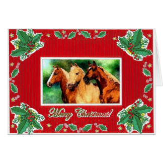 クォーター馬のポートレートのブランクのクリスマスカード カード