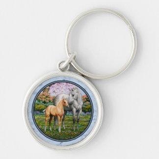 クォーター馬のロバおよび子馬の青 キーホルダー