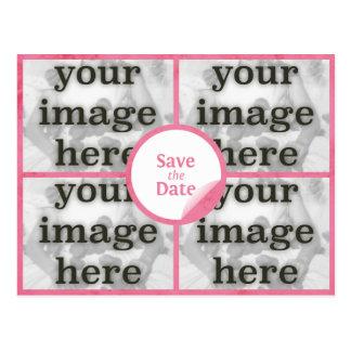 クォードのガーリーなピンクの保存日付の郵便はがき ポストカード