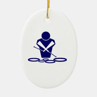 クォードのロゴの青くすばらしい方針の男 セラミックオーナメント