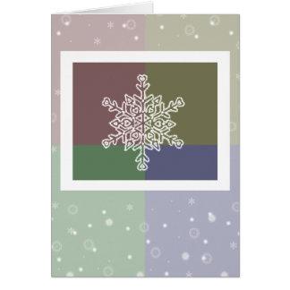 クォード色の雪片のクリスマスカード カード