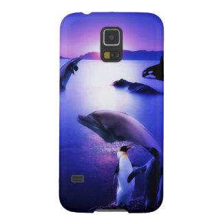 クジラのイルカのペンギンの海の日没 GALAXY S5 ケース