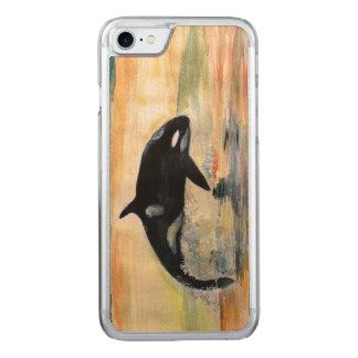 クジラのシャチのAppleのiPhone 7の細いかえで木箱 Carved iPhone 8/7 ケース