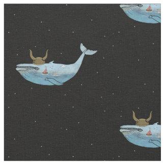 クジラのプリントの生地 ファブリック