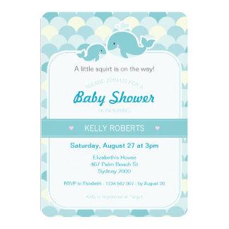 クジラのベビーシャワーの招待状-ターコイズ カード