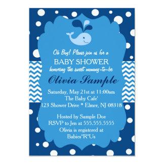 クジラのベビーシャワーの招待状、航海のなベビーシャワー カード