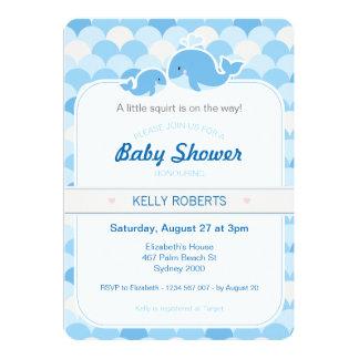 クジラのベビーシャワーの招待状-青 カード