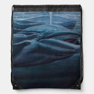 クジラのヴィンテージのイラストレーション、青いグラフィック ナップサック