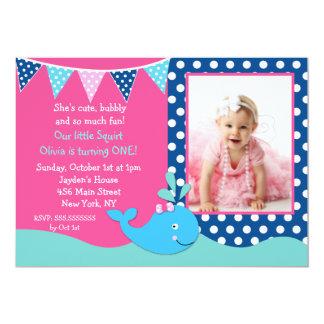 クジラの写真のバースデーパーティ招待状の女の子 カード