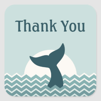 クジラの尾は感謝していしています スクエアシール