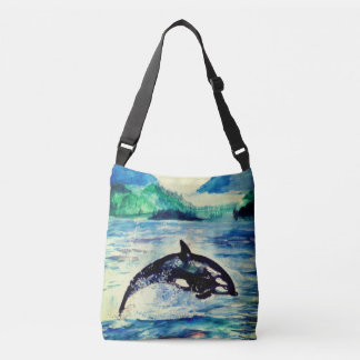 クジラの水彩画のスケッチのトートバック クロスボディバッグ