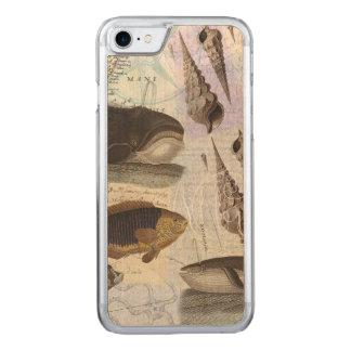 クジラの沿岸コラージュの歌 CARVED iPhone 8/7 ケース