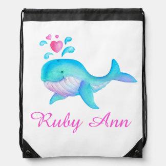 クジラの芸術は一流の水のピンクのドローストリングバッグをからかいます ナップサック