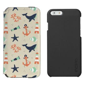 クジラの要素が付いているかわいい船員パターン INCIPIO WATSON™ iPhone 5 財布型ケース