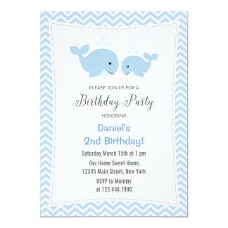 クジラの誕生日のパーティの招待状の青 12.7 X 17.8 インビテーションカード