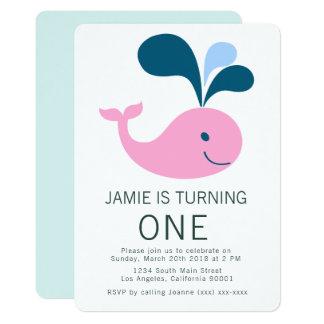 クジラの誕生日の招待状をはねかけること カード
